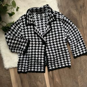 Josephine Chaus houndstooth cardigan sweater SZL
